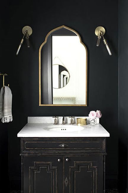 Bathroom walls painted in Black Satin Aura Bath & Spa paint color