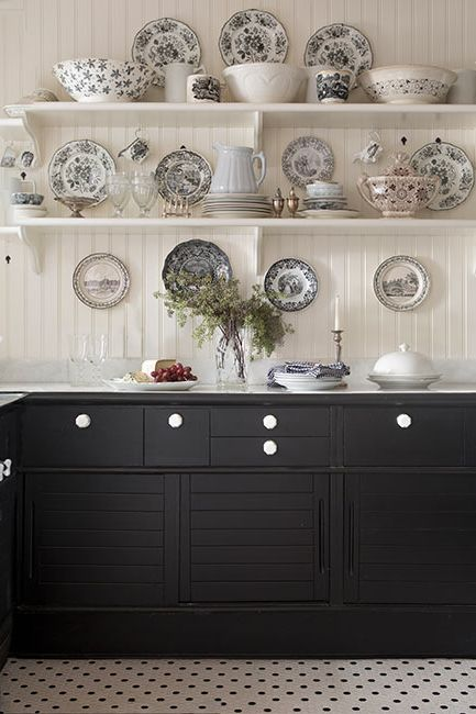 Kitchen cabinets painted in Jet Black paint color