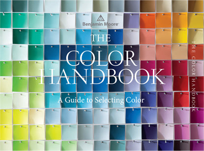 The cover of The Color Handbook, A Guide to Selecting Color, features a range of paint colors pinned together, creating a mosaic like effect.