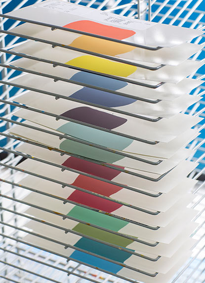 A drying rack from our research and development facility features just a few of Benjamin Moore's 3,500+ colors.