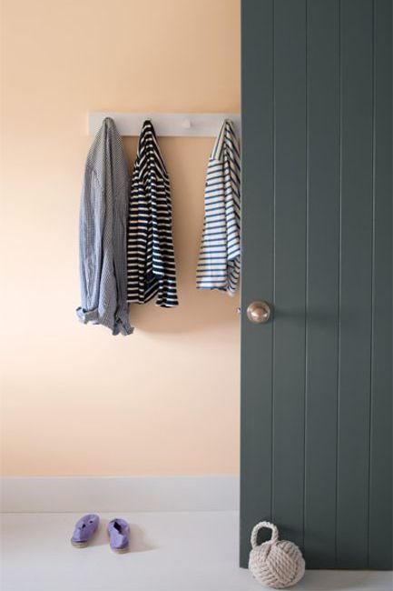 A charcoal gray-painted door stands out against a peach wall with white peg coat rack.