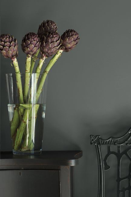 A monochromatic scene in shades of black features an ornate chair and simple table punctuated by a glass vase holding thick green stems and exotic aubergine-colored flowers.