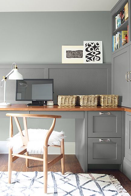 Home office painted in gray and white paint colors