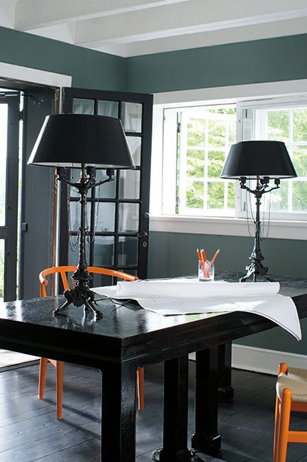 Home office painted in a dark gray paint color