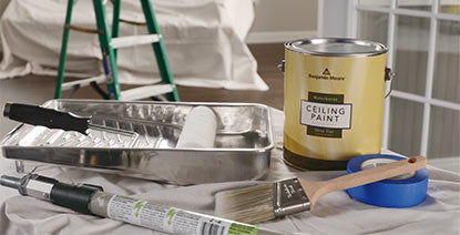 Benjamin Moore Waterborne Ceiling Paint, paint brush, roller & tray, tape and extension pole