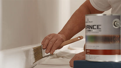 Apply paint trim top to bottom, start at crown molding, windows, door frames, then baseboard