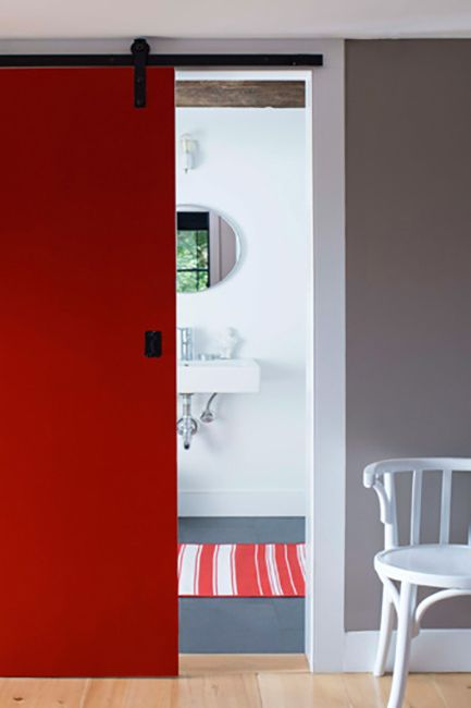 Tomato Tango Red paint color on indoor sliding door