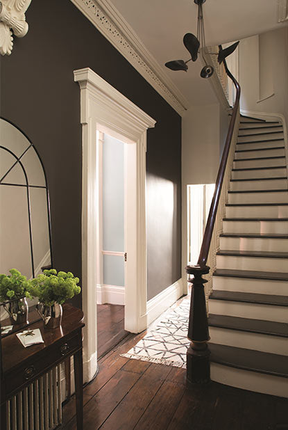 Hallway painted in deep brown paint color with eggshell finish