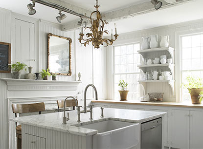 Kitchen painted in neutral paint colors with eggshell finish walls