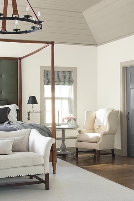 A crisp white-painted bedroom with gray-painted ceiling, trim and door.