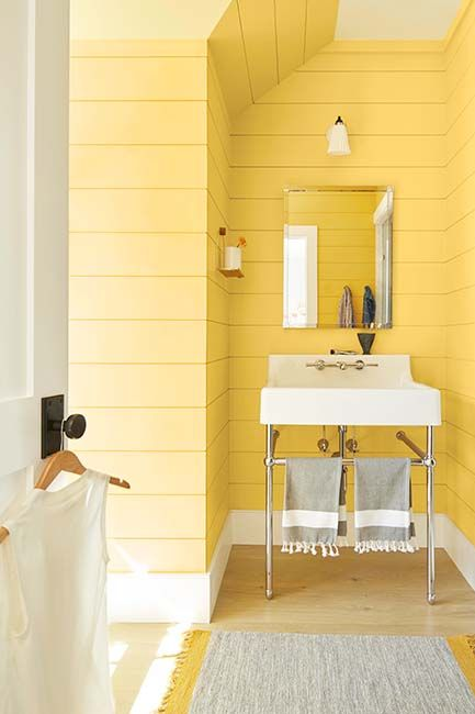 A cheery yellow bathroom painted in Yellow Rain Coat 2020-40.