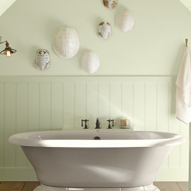 Top floor bathroom with angled ceiling