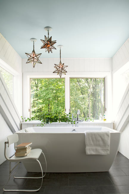Bathroom walls painted in a matte decorator white paint color