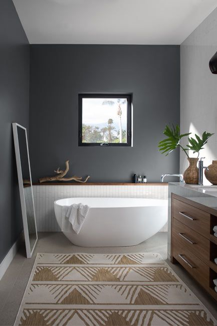 Bathroom walls painted in a matte gray charcoal slate paint color