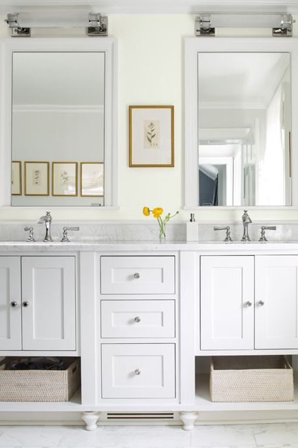 Bathroom walls painted in a matte ice mist white paint color