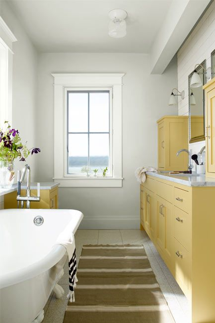 Bathroom walls painted in a matt white heron paint color