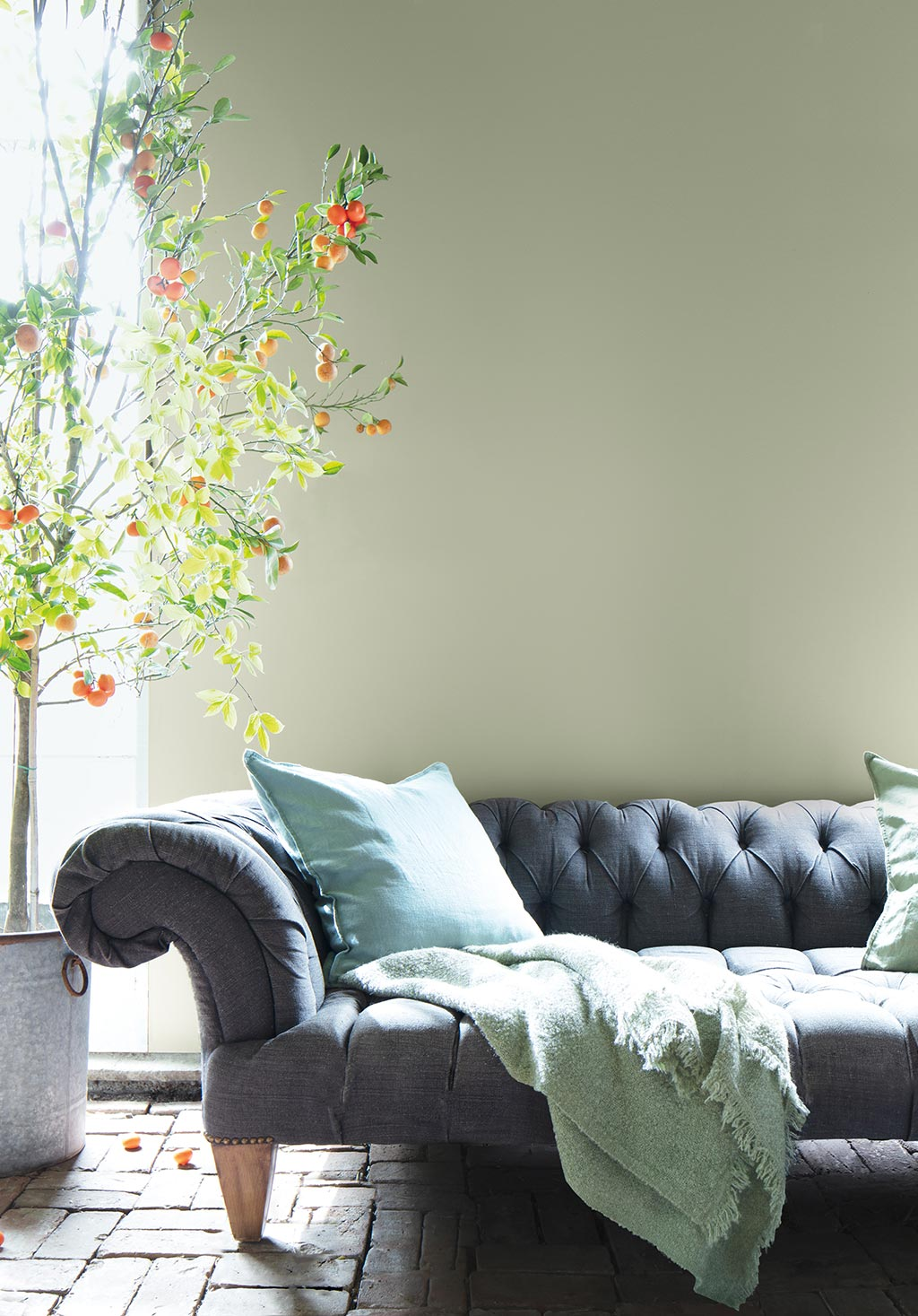 A living room with classic gray couch, green accent pillows, indoor tree, and sage green-painted walls with wood trim.