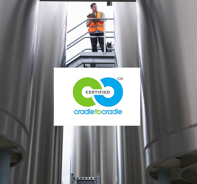 Cradle to Cradle Certified with engineer above holding tank