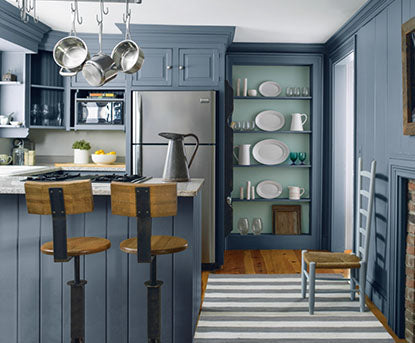 Traditional kitchen with blue hues