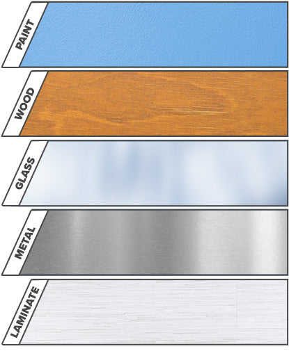 An array of painted, wood, glass, metal and laminate surfaces reflects the versatility of of Notable Dry Erase.