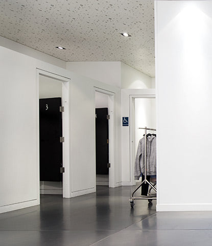 When protected from scuffing, a fresh white dressing room enhances the customer experience.