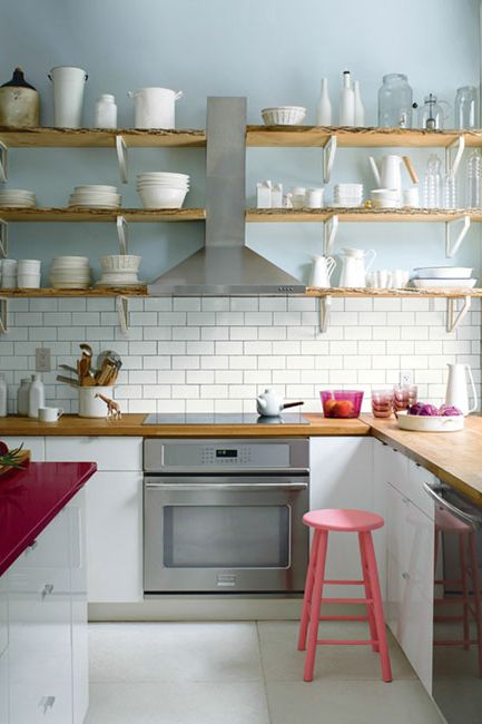 Open kitchen white & gray color painted walls