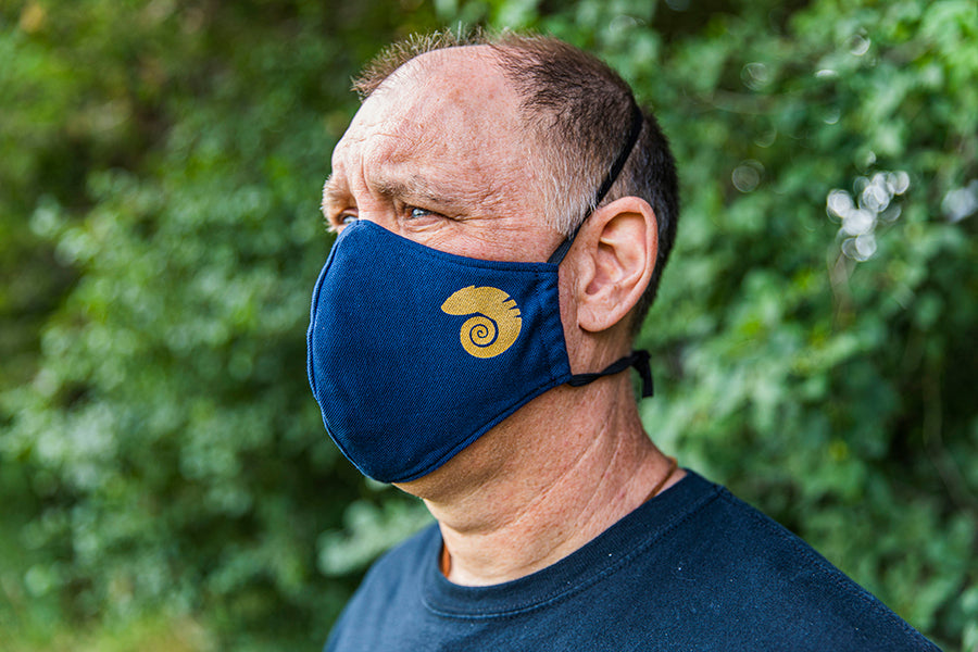 blue three layer cotton mask.