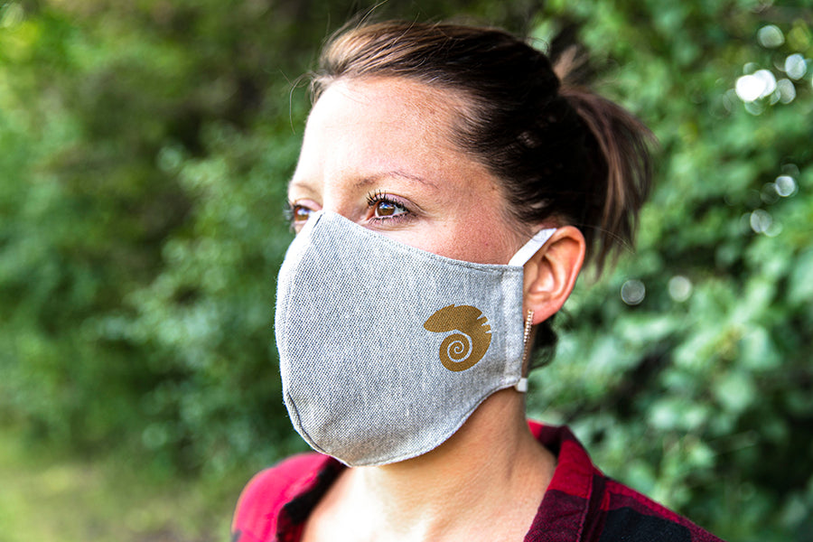 Three layer cotton mask in gray on a lady