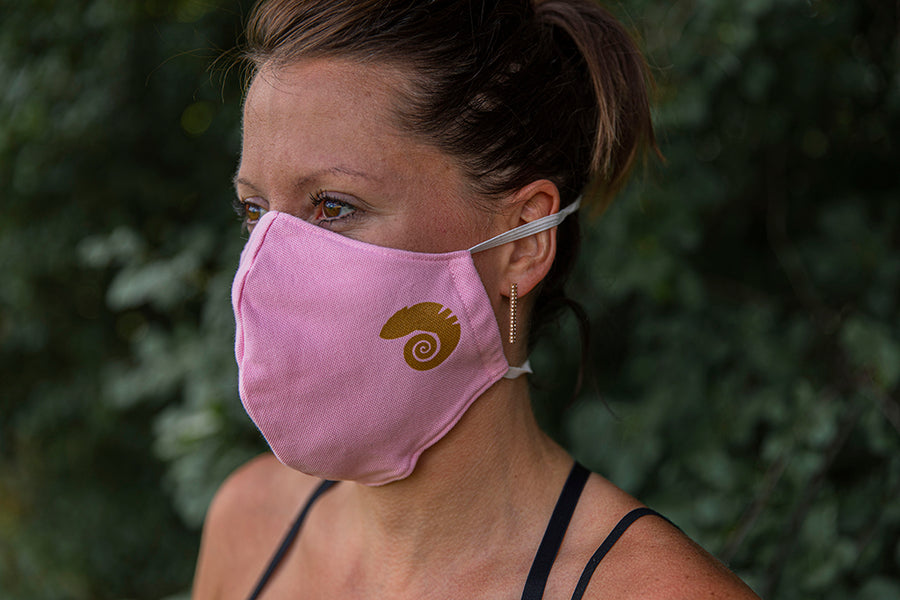 three layer cotton mask in pink