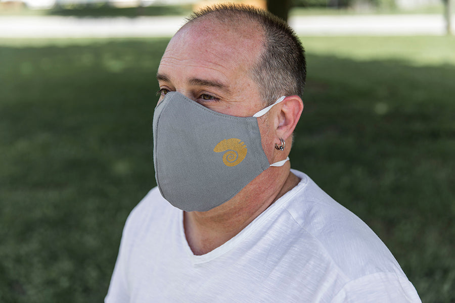 Three layer cotton mask gray