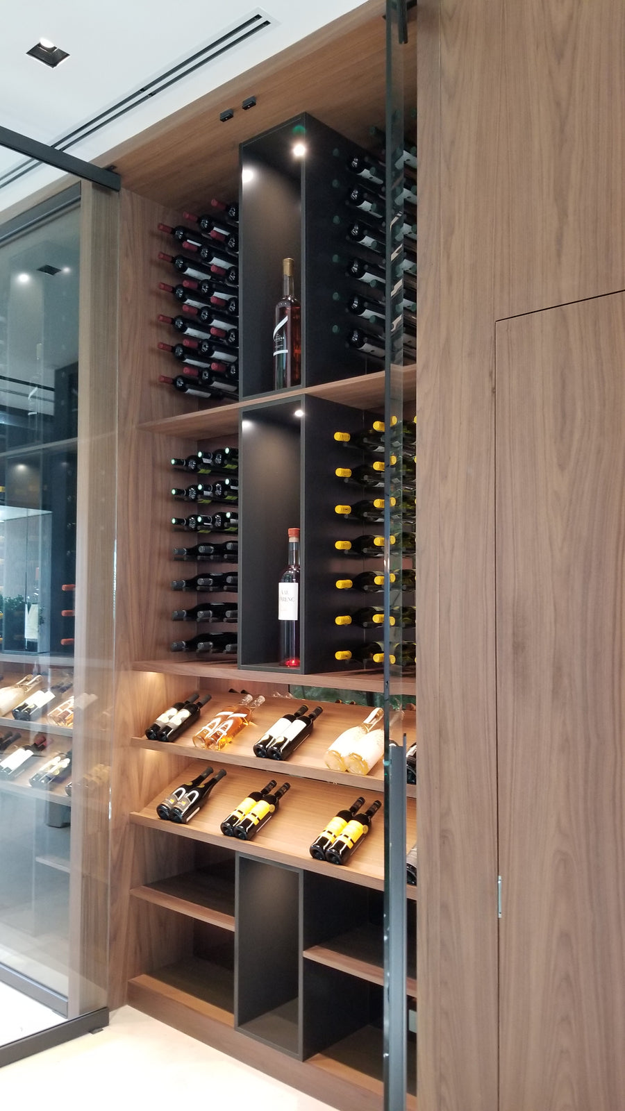 Wine storage with aluminum wine pegs.