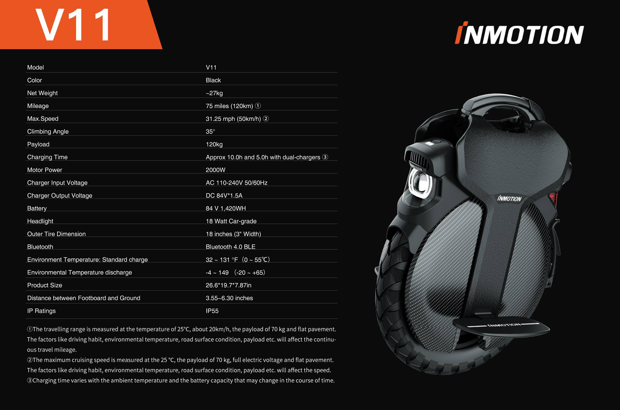 Inmotion V11 unicycle specifications
