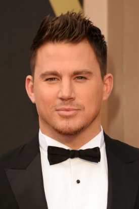 Channing Tatum chooses to style his straight hair by using a comb and lightweight hair pomade to give his style lift and height.