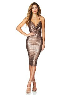 Seduce Sequin Midi Bronze