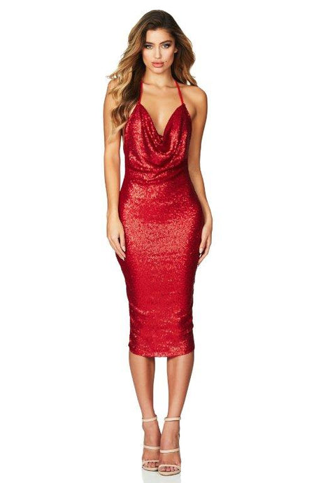 Seduce Sequin Midi Red