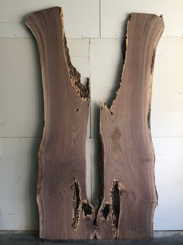 Black Walnut Live Edge Surfaced Bookmatch Slab Set Kansas City