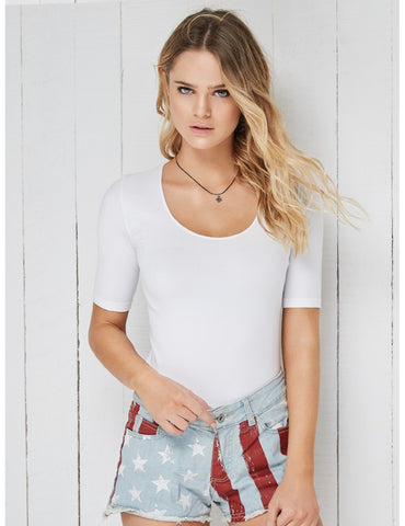 Basic T-Shirt Half Sleeves Scoop Neck