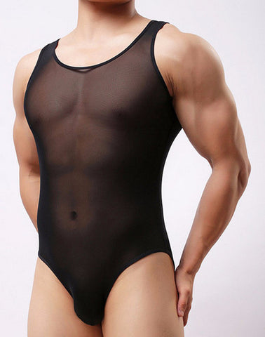 Men See Through Bodysuit Fine Mesh