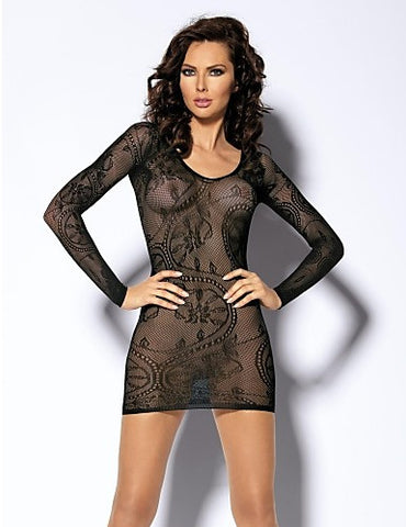 Sheer See Through Nylon Dress Long Sleeves