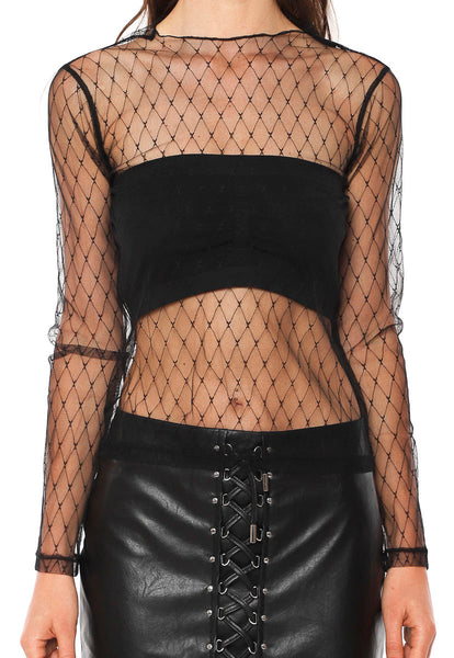Fully Sheer Women Mesh Net Shirt