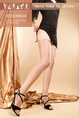 Totally Sheer Nylon Stockings for Garter Vintage Style Shiny