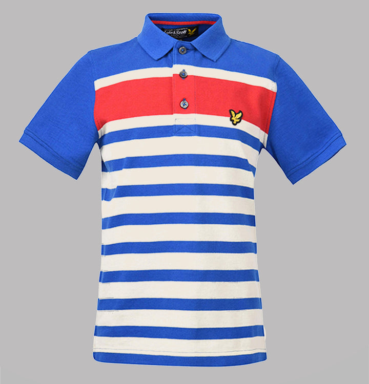 Multi Stripe Polo Shirt - Lake Blue