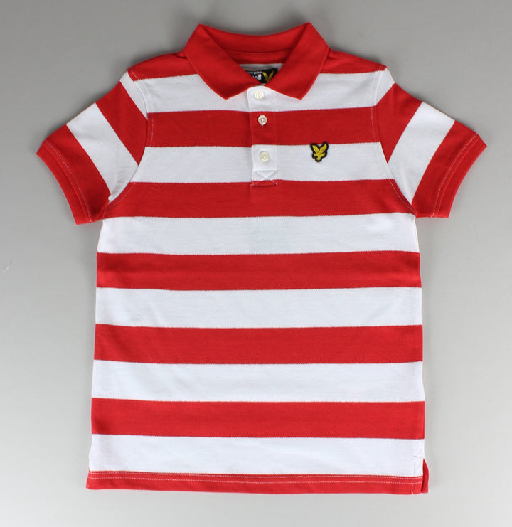 Block Stripe Polo Shirt - Flash Orange