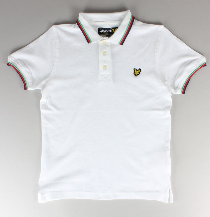 Colour Tipped Polo Shirt - Bright White