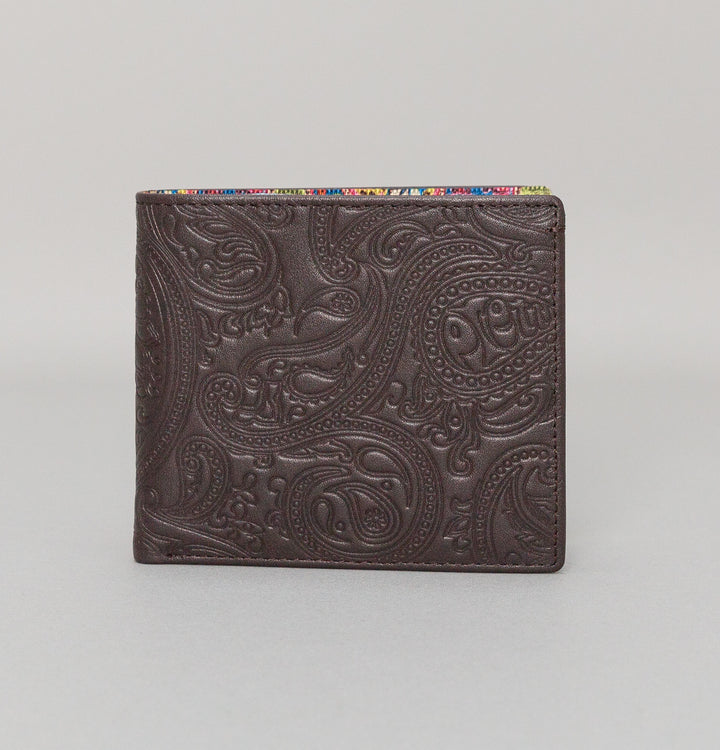 Pretty Green Paisley Embossed Bi-fold Wallet Chocolate