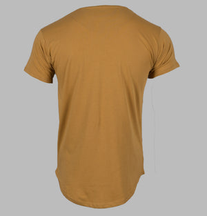 Sik Silk Curved Hem Colours Tee Mustard