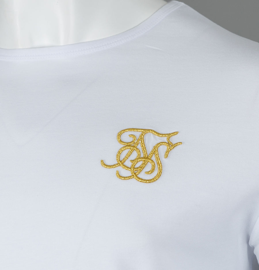 Sik Silk Long Sleeve Gym Tee White/Gold