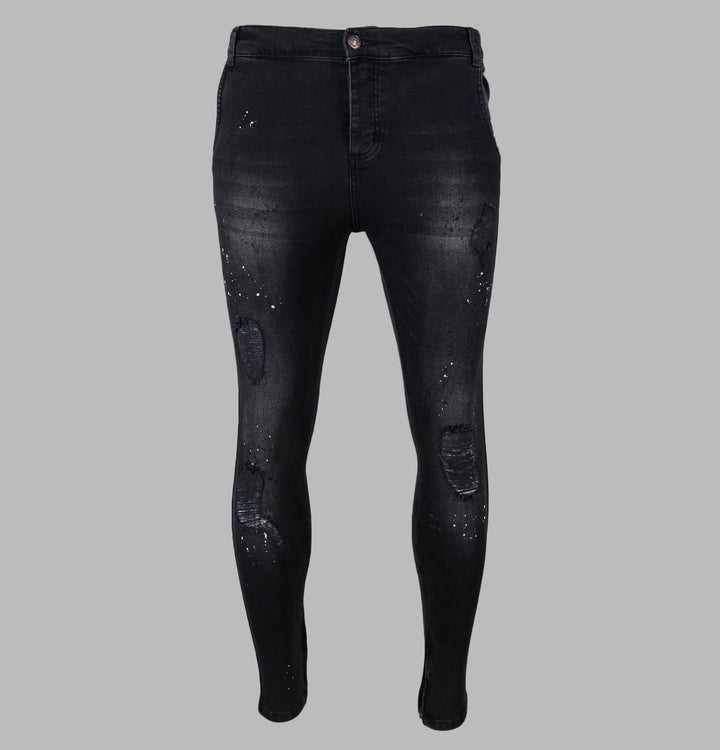 Riot Low Rise Skinny Demin Jeans - Washed Black
