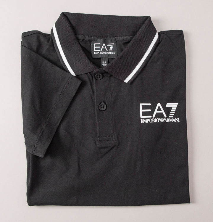 EA7 Core Stripe Collar Polo Shirt Black