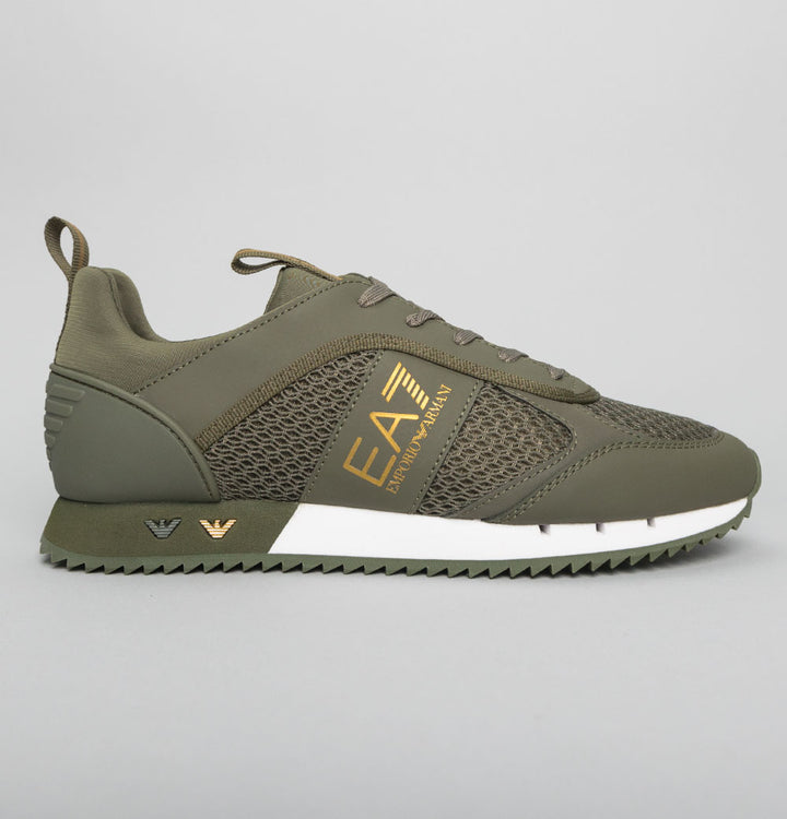 EA7 Emporio Armani Multi Logo Trainers Grape Leaf/Gold
